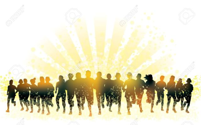 18497669-Crowd-of-young-people-running-Sport-illustration--Stock-Vector-silhouette